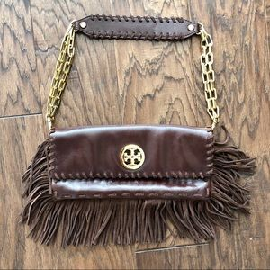 Tory Burch Brown leather fringe bag